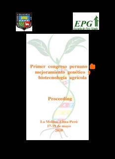Primer congreso peruano de mejoramiento genético y biotecnología agrícola Proceeding
