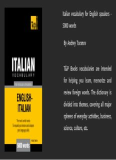 Italian vocabulary for English speakers - 5000 words