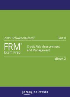 FRM 2019 PART II BOOK 2: CREDIT RISK MEASUREMENT AND MANAGEMENT