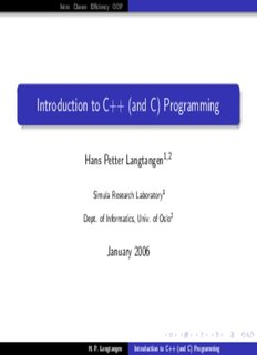 Introduction to C++ (and C) Programming
