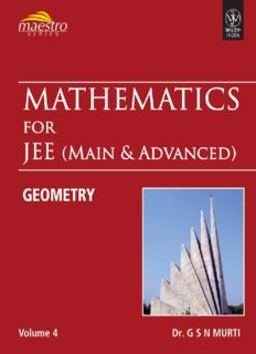Wiley s Mathematics for IIT JEE Main and Advanced Coordinate Geometry Vol 4 Maestro Series Dr. G S N Murti