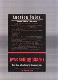 Jews Selling Blacks: Slave Sale Advertising by American Jews