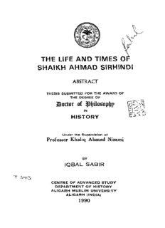 the life and times o shaikh ahmad sirhindi