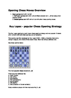Opening Chess Moves Overview Ruy Lopez