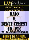 SIMON KAJO V. BENUE CEMENT COMPANY PLC Suit No: CA/J/173