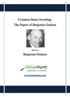 Common Sense Investing: The Papers of Benjamin Graham Benjamin Graham