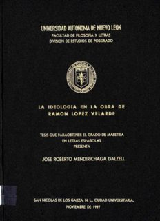 La ideología en la obra de Ramón Lopéz Velarde