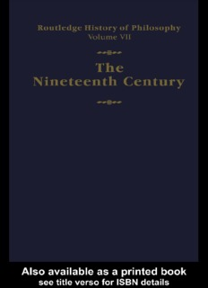 Routledge History of Philosophy Volume VII The Nineteenth Century