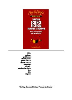 Writing Science Fiction, Fantasy & Horror: How to Create Successful Work for Publication (Successful Writing)