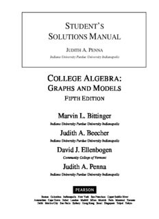 Judith A. Penna's 'Student's Solutions Manual for Marvin L. Bittinger's, Judith A. Beecher's, David J. Ellenbogen's and Judith A. Penna's 'College Algebra (Graphs and Models)'