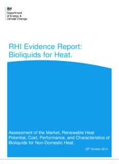 RHI Evidence Report: Bioliquids for Heat. - Gov.uk