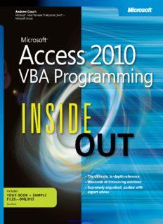 Microsoft® Access® 2010 VBA Programming: Inside Out