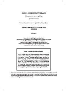 elaine p. nunez community college nunez community college catalog 2008-2009