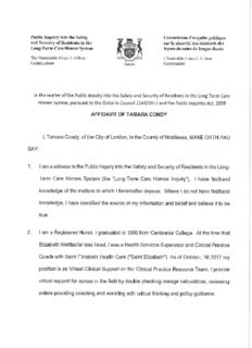 AFFIDAVIT OF TAMARA CONOY I, Tamara Candy, of the City of London, in the County of ...