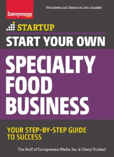 Start Your Own Specialty Food Business: Your Step-By-Step Startup Guide to Success StartUp Series