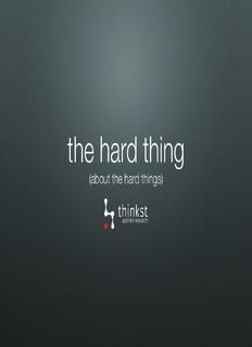 about the hard things