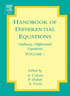 Handbook of Differential Equations: Ordinary Differential Equations, Volume 1 (Handbook of Differential Equations)