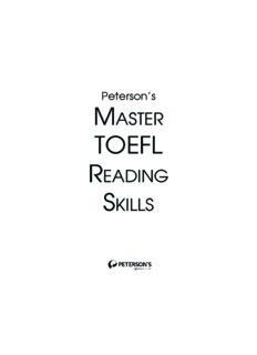 Master the TOEFL Reading Skills (Peterson's Master the TOEFL Reading Skills)