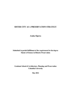 SISTER CITY AS A PRESERVATION STRATEGY Asuka Ogawa