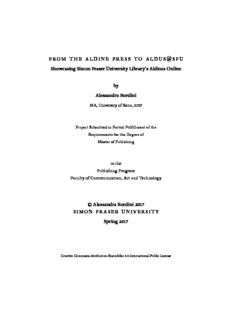 from the aldine press to aldus @sfu Showcasing Simon Fraser University Library's Aldines Online ...