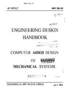 Engineering Design Handbook. Computer Aided Design of Mechanical Systems