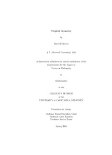 Tropical Geometry by David E Speyer A.B. (Harvard University