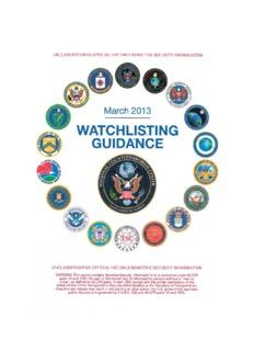 2013 Watchlisting Guidance