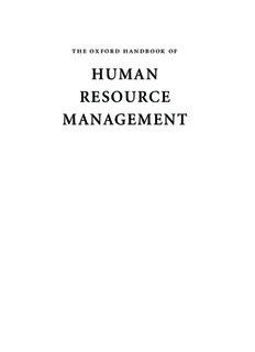 Oxford Handbook of Human Resource Management