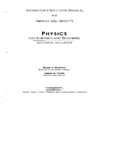 Page 1 INSTRUCTOR'S SOLUTIONS MANUAL FOR SERWAY AND JEWETT'S PHYSICS FOR ...
