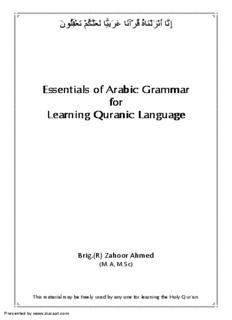 Arabic Grammar For Learning Quranic Language