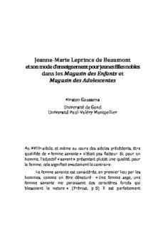Jeanne-‐Marie Leprince de Beaumont et son mode d'enseignement pour jeunes filles