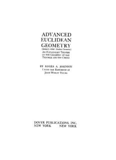 Advanced Euclidean Geometry - Roger Johnson