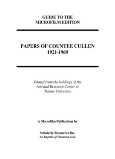 PAPERS OF COUNTEE CULLEN 1921-1969 - Gale - Primary Source Media