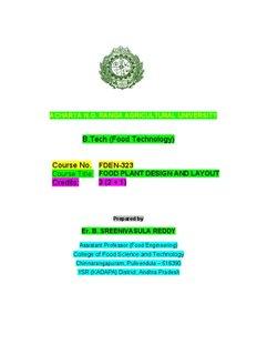 Food Plant Design & Layout - acharya ng ranga agricultural university