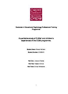 A qualitative study of ELSAs' and children's experiences of the ELSA programme.