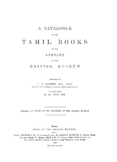 Catalogue of the Tamil Books in the Library of the British Museum