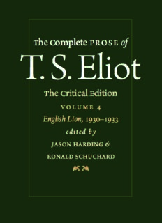 The Complete Prose of T.S. Eliot - Volume 4 - English Lion, 1930-1933