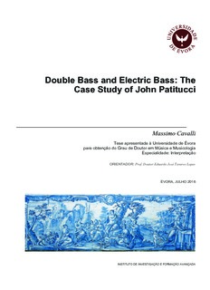 Double Bass and Electric Bass: The Case Study of John Patitucci