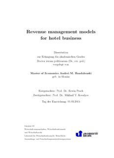 Revenue management models for hotel business