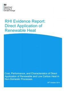 RHI Evidence Report: Direct Application of Renewable Heat - Gov.UK