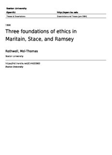 Three foundations of ethics in Maritain, Stace, and Ramsey