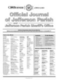 of Jefferson Parish Jefferson Parish Sheriff's Office Official Journal of Jefferson Parish