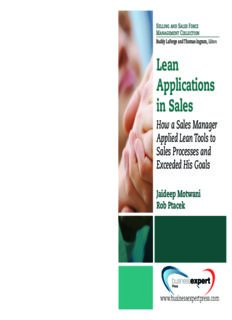 Lean applications in sales : how a sales manager applied lean tools to sales processes and exceeded his goals