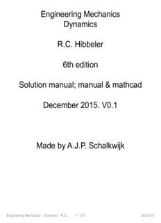 Engineering Mechanics Dynamics RC Hibbeler 6th edition Solution manual