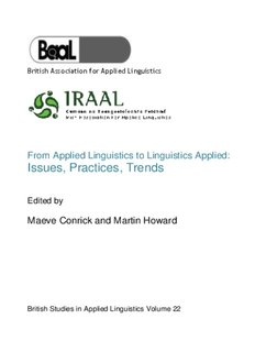 From Applied Linguistics to Linguistics Applied: Issues, Practices