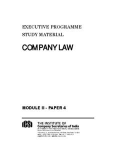 Company Law - The Institute of Company Secretaries of India, The