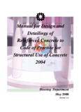 Manual for Design and Detailings of Reinforced Concrete to Code of