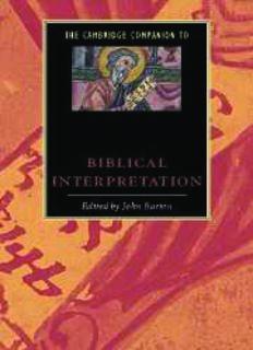 The Cambridge Companion to Biblical Interpretation (Cambridge Companions to Religion)