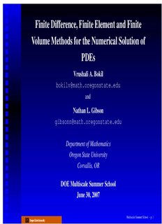 Finite Difference, Finite Element and Finite Volume Methods for the