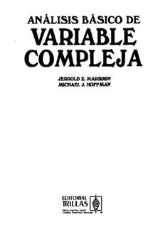 Análisis Básico de Variable Compleja – Jerrold Marsden